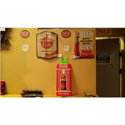 Havana Club (from Cuba) / Coca Cola metal sign & beer / gas metal sign plus 2 coasters for Ernest He