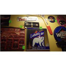 Coor's light / Miller's genuine classics signs and Labatt's lite mirrored sign