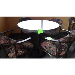 1 round centre steel pedestal table laminate with granite look finish