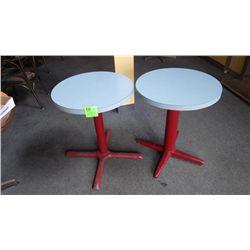 2 round centre pedestal table (2 person) bar tables