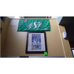2007  Saskatchewan Roughriders grey cup champions front page Star Phoenix special eddition framed, a