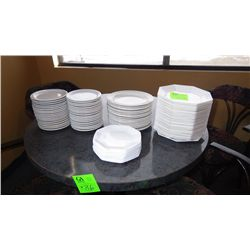 29 octagon dinner plates, 13 smaller octagon luncheon plates,20 round luncjeon plates, 36 small roun