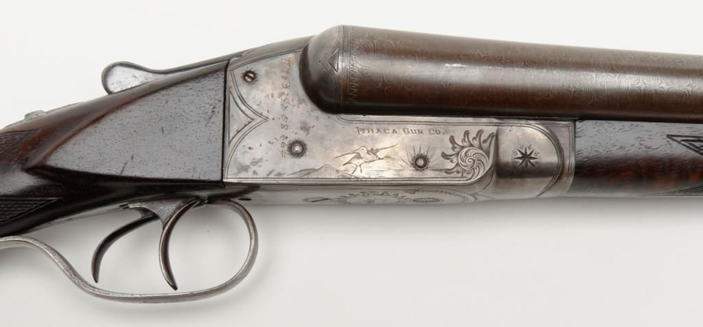 "Ithaca Gun Co  SxS hammerless shotgun, 12 gauge, 30"" damascus barrels, case  hardened receiver, dou"