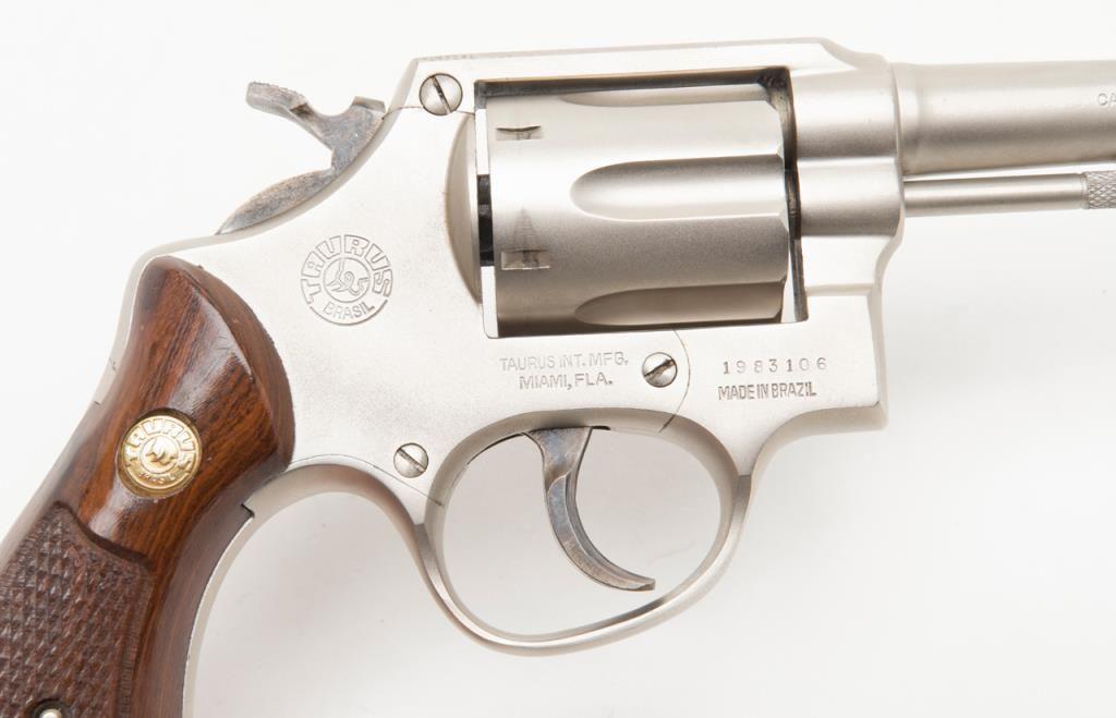 "Taurus DA revolver,  38 Special cal , 4"" barrel, brushed nickel finish,  checkered wood medallion g"