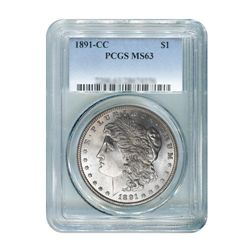 1891-CC $1 Morgan Silver Dollar - PCGS MS63