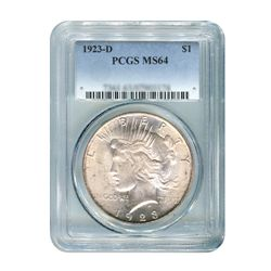 1923-D $1 Peace Silver Dollar - PCGS MS64