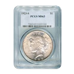 1923-S $1 Peace Silver Dollar - PCGS MS63