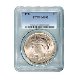 1924 $1 Peace Silver Dollar - PCGS MS65