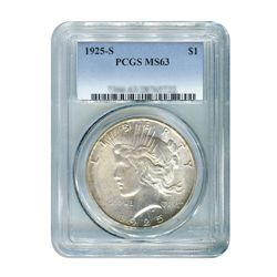 1925-S $1 Peace Silver Dollar - PCGS MS63