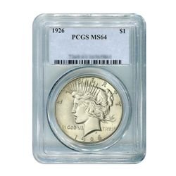 1926 $1 Peace Silver Dollar - PCGS MS64