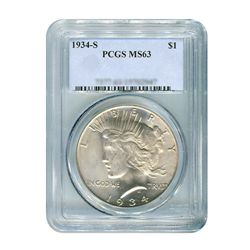 1934-S $1 Peace Silver Dollar - PCGS MS63