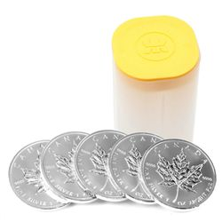 Roll of 25 1oz Silver Canadian Maple Leaf $5 Coins