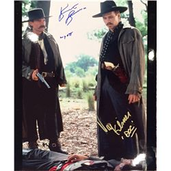 """Tombstone color large 11x14 image signed by both stars Kurt Russell who adds """"Wyatt"""" and by Val Kime"""