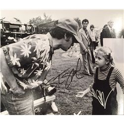 E.T. signed b/w glossy 11x14 by both director Steven Spielberg and star Drew Barrymore