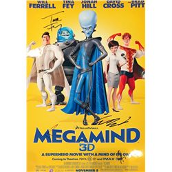 Megamind color mini premiere poster on photopaper 13x17 signed at the premiere by Brad Pitt, Will Fe