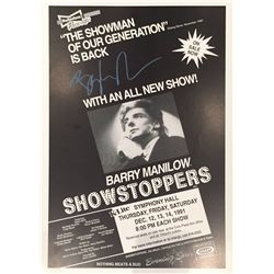 Barry Manilow signed 13x17 original concert poster from the 1991 Showstoppers tour