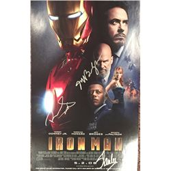 Iron Man mini premiere poster signed by Robert Downey Jr, Jeff Bridges and Stan Lee