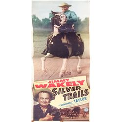 Silver Trails folded insert poster feat. Jimmy Wakely from the 1940's