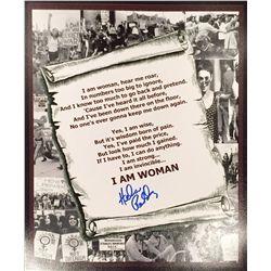 I Am Woman print lyric sheet signed by singer/writer Helen Reddy