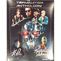 Terminator large 11x14 print signed by all five stars Kristanna Loken, Eddie Furlong, Michael Biehn,