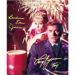 """I Dream of Jeannie signed by Larry Hagman wrote his characters name """"Tony"""" and Barbara Eden signed a"""