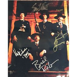 Tombstone color large 11x14 cast shot signed by Kurt Russell, Val Kilmer, Bill Paxton and Sam Elliot