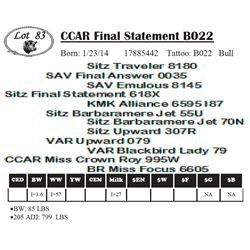 Lot 83 - CCAR Final Statement B022
