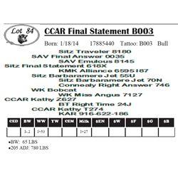 Lot 84 - CCAR Final Statement B003