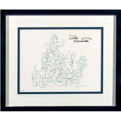 Don Williams Blue Line Drawing Print of Mickey and Friends