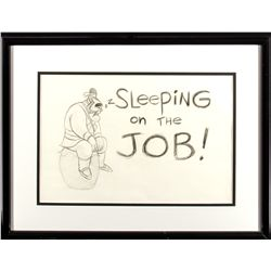 Sleeping on the Job!  Pencil Drawing of Yao from Mulan
