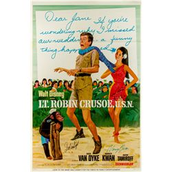 Autographed One-sheet Poster for Walt Disney's Lt. Robin Crusoe, U.S.N.
