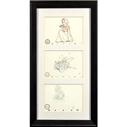 Set of 3 Walt Disney Classics Collection Snow White, Tinkerbell & Mickey Mouse Sketch Prints