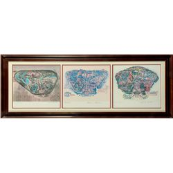 Set of 3 Disney Legends Signed Disneyland Maps