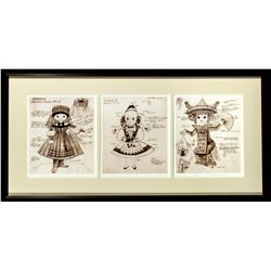 Set of 3 Alice Davis Signed Prints of It's a Small World Production Drawings