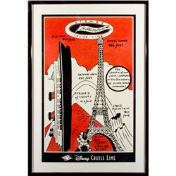Disney Cruise Line Eiffel Tower Signed Poster
