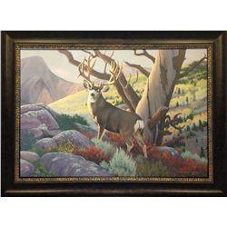 """""""Fall Is In The Air"""" (mule deer) 24x36 original painting, oil on panel, by Randsom Owens."""