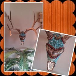 Hand Beaded Mule Deer Skull created by - Jana Waller - Skullbound TV