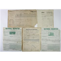 Collection of 5 early letterheads includes 1866