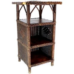 Victorian stand in wicker and quarter sawn