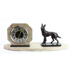 Art Deco mantle clock with figural German Shepard