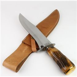 Large contemporary bowie knife with stag handle