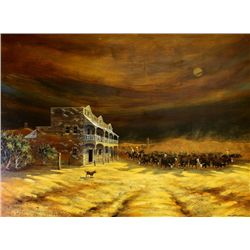 Large oil on board painting of cattle round up