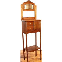 Old oak shaving stand with single cup compartment
