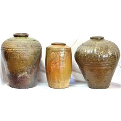 Collection of 3 outdoor vases in pottery