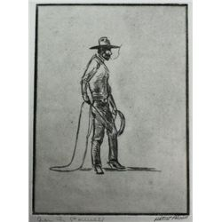 Artist proof etching by noted western artist Dave