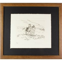 Pencil signed etching by Montana artist Nancy