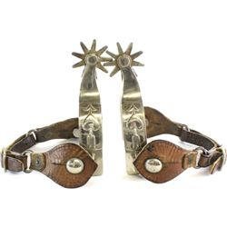 Pair Kelly marked spurs single mount with heart