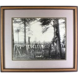 Framed Black and White photo of deer hunters
