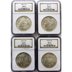 Collection of 4 Morgan silver dollars 1884 O,