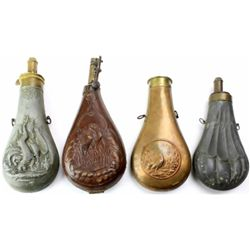 Collection of 4 antique powder flasks.